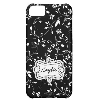 Elegant Floral Black and White Personalized Cover For iPhone 5C