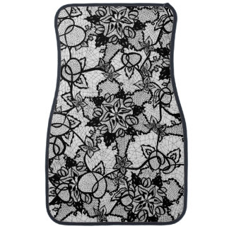 Elegant floral black hand drawn lace pattern car mat