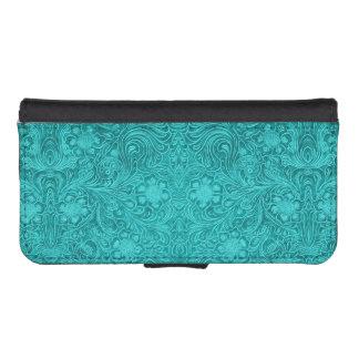 Elegant Floral Blue-Green Suede Leather Look iPhone SE/5/5s Wallet Case
