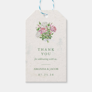 Elegant Floral Bouquet Thank Gift Tags