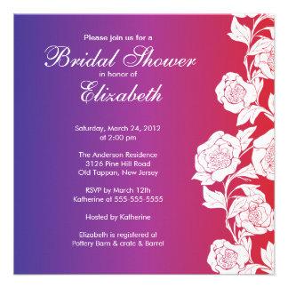 Elegant Floral Bridal Shower Invitation purple