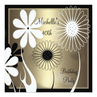 "Elegant Floral Bronze black white 40th Birthday 5.25"" Square Invitation Card"