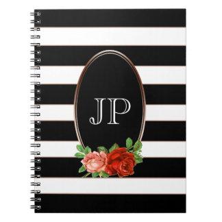 Elegant Floral Bronze Black White Striped Monogram Spiral Notebook