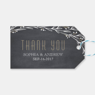Elegant floral chalkboard rustic wedding thank you pack of gift tags