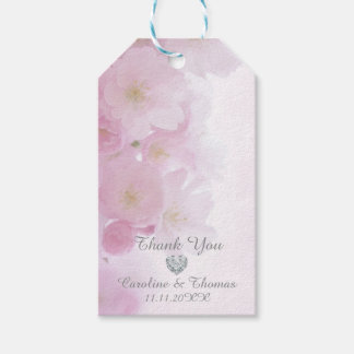 Elegant Floral Cherry Blossoms Thank You Wedding Gift Tags