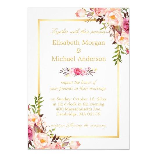 Elegant floral chic gold white formal wedding card zazzle elegant floral chic gold white formal wedding card stopboris Images