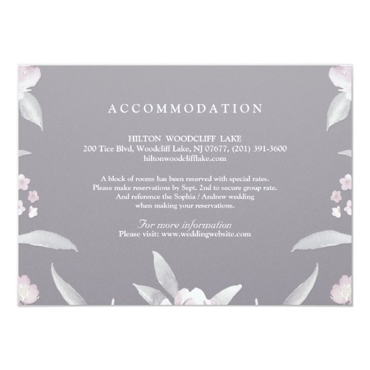 Elegant floral Chinoiserie Wedding accommodation Card