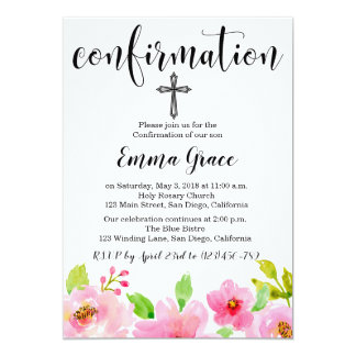 Elegant Floral Cross Confirmation Invitation