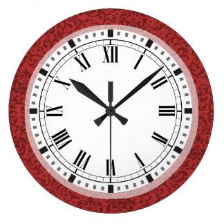 Elegant Floral Damask Inspired by William Morris Wall Clocks