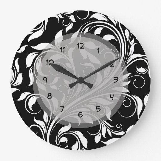 Elegant Floral Damask Kitchen Clocks