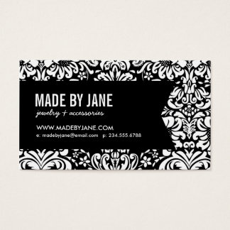 Elegant Floral Damask & Ribbon Business Card