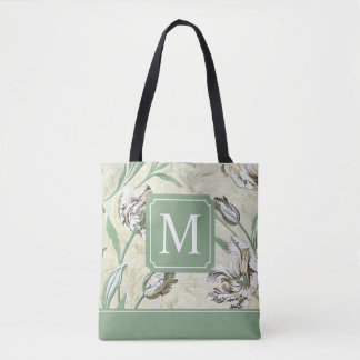 Elegant Floral Design Monogram | Tote Bag