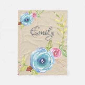 Elegant Floral Design Texture Fleece Blanket