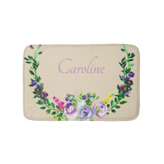 Elegant Floral Design With Your Name Bath Mat