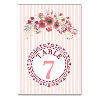 Elegant Floral Display Wedding Table Number Card