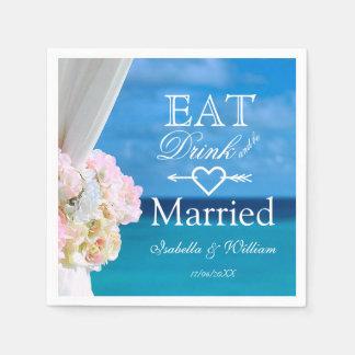 Elegant Floral Eat Drink Married Beach Wedding Paper Napkin