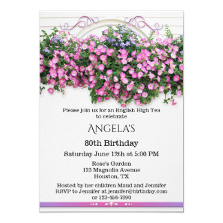 Elegant Floral English Birthday Party Invitation
