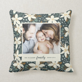 Elegant Floral Family Photo Pillow