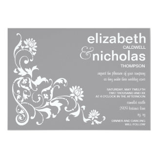 Elegant Floral Flourish Wedding Invitation-gray Card