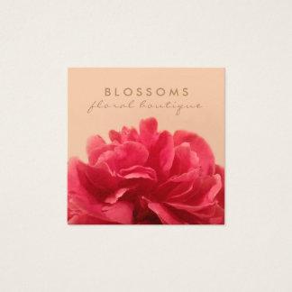 Elegant Floral Gold and Pink Florist Square Business Card