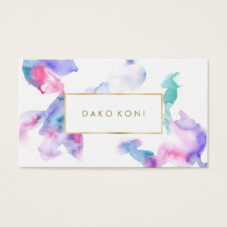 Elegant floral gold frame business card