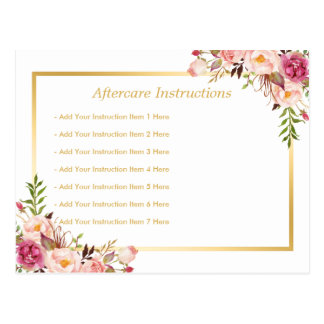 Elegant Floral Gold Lash Salon Aftercare Card