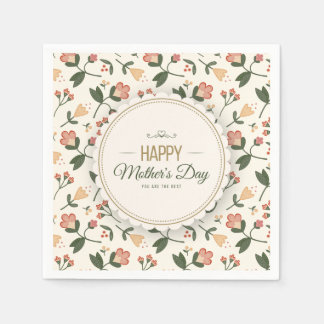 Elegant Floral Happy Mother's Day | Napkin Paper Napkin