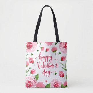 Elegant Floral Happy Valentine's Day Tote Bag