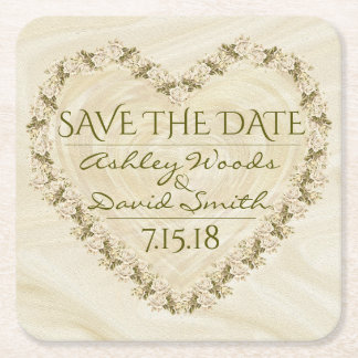 Elegant Floral Heart Save The Date Coaster