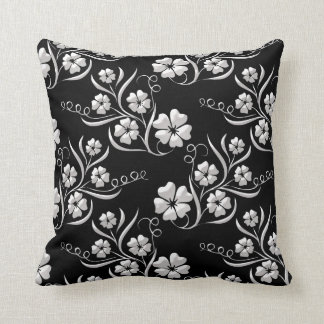 Elegant Floral in Black and White Throw Pillow