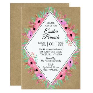 Elegant Floral Kraft Easter Brunch Card