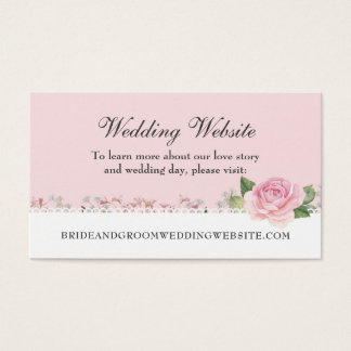 Elegant Floral Lace Pale Pink Wedding Website Card