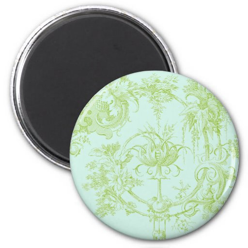Elegant Floral, Leaf Green and Aqua Refrigerator Magnet