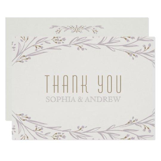 Elegant floral lilac rustic wedding thank you card