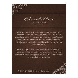 Elegant Floral Linen Salon Spa Brown Beige Personalized Flyer