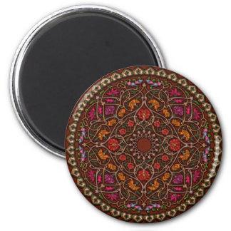 Elegant Floral Mandala 2¼ Inch Round Magnet