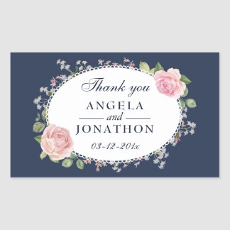 Elegant Floral Midnight Blue Wedding Thank You Sticker