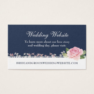 Elegant Floral Midnight Blue Wedding Website Business Card