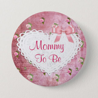 Elegant Floral Mommy to be Baby Shower button
