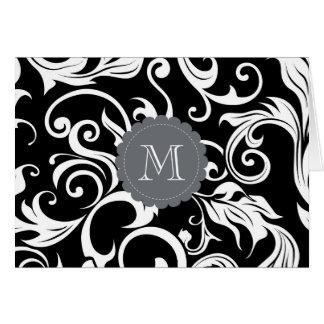 Elegant Floral Monogram Note Card Black White