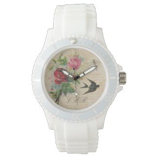 Elegant Floral Monogram Pink Roses Bird Dragonfly Watch