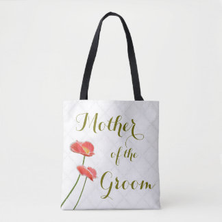 Elegant Floral Mother of the Groom Red Poppies Tote Bag