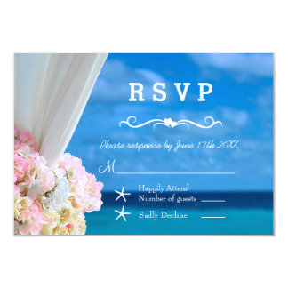 Elegant Floral Ocean Beach Summer RSVP Card