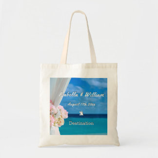 Elegant Floral Ocean Beach Summer Wedding Favor Tote Bag