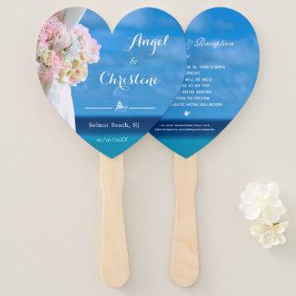 Elegant Floral Ocean Beach Summer Wedding Hand Fan