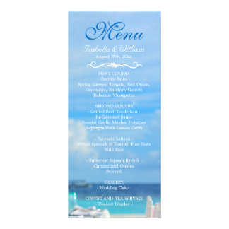 Elegant Floral Ocean Beach Summer Wedding Menu