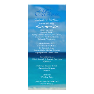 Elegant Floral Ocean Beach Summer Wedding Menu Rack Cards