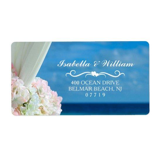 Elegant Floral Ocean Beach Summer Wedding Shipping Label
