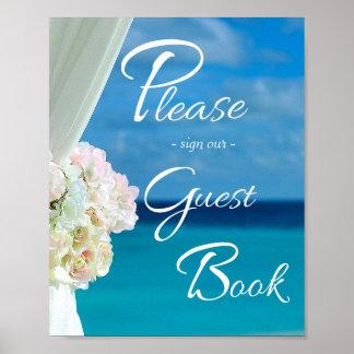 Elegant Floral Ocean Beach Summer Wedding Sign Poster