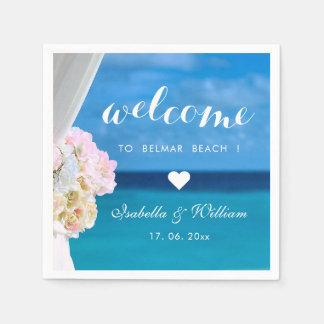 Elegant Floral Ocean Beach Wedding Welcome Paper Napkin